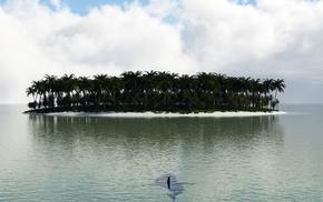 остров, акула, фотошоп, фэнтези