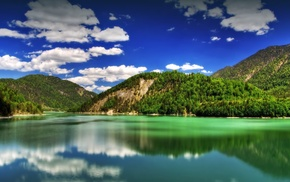 mountain, greenery, nature, sea, water