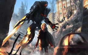 robot, sword, science fiction, fantasy art, artwork, mech
