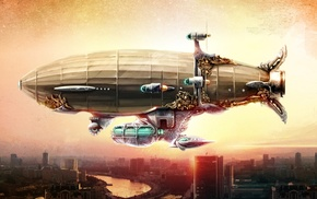 fantasy art, digital art, steampunk, Zeppelin, artwork