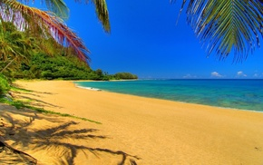 песок, небо, пейзаж, Природа, река, облака