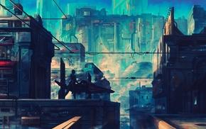 city, futuristic, Wipeout, artwork, fantasy art