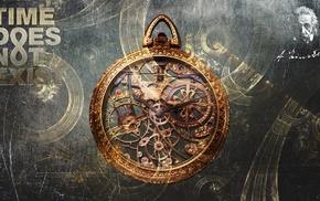 Albert Einstein, fantasy art, clockwork, pocketwatches, clocks, time