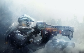 digital art, soldier, artwork, snow, weapon, futuristic
