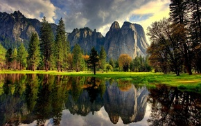 forest, park, mountain, reflection, clouds