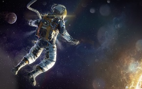 stars, space, Sun, fantasy art, astronaut, digital art