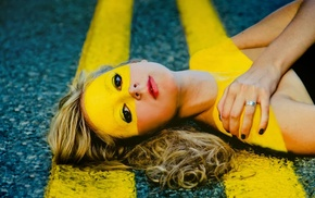 red lipstick, blonde, body paint, yellow, girl, face paint