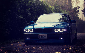 tuning, BMW, cars, headlights, forest
