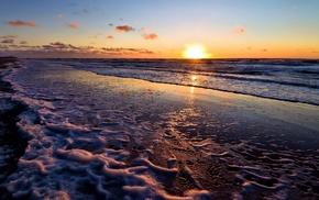 sunset, nature, beach, sea, evening