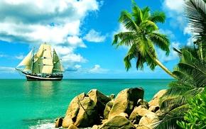 отдых, рай, природа, небо, тропики, парусник