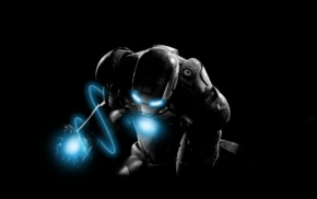black, Iron Man, blue