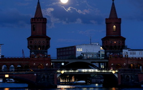 здания, полнолуние, Германия, луна, города, Берлин