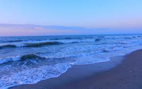sunset, waves, sky, coast, sea