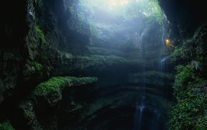 водопад, пейзаж, свет, природа, ущелье, пещера
