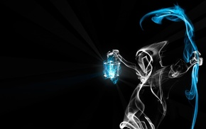 death, smoke, light, 3D, black background