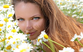 girl, smiling, chamomile, blue eyes, field