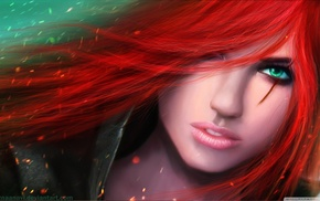 green eyes, redhead, MagicnaAnavi, Katarina du Couteau, Katarina, League of Legends