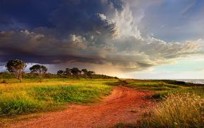 sky, Australia, road, storm, nature