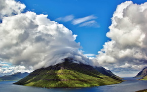 nature, sky, bay, clouds, mountain