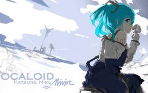 anime girls, aqua hair, twintails, Hatsune Miku, aqua eyes, Vocaloid