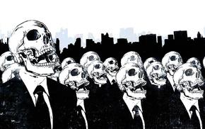 произведение искусства, череп, костюмы, монохром, линия горизонта