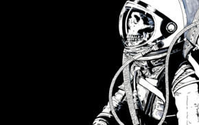 astronaut, skeleton, skull, black background