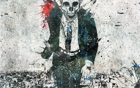 artwork, skull, suits, Alex Cherry, paint splatter
