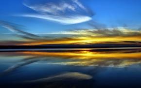 зеркало, отражение, природа, закат, вода