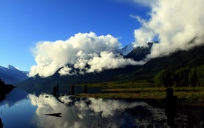 clouds, nature, mountain, river, mist