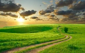road, Sun, sky, nature, hills