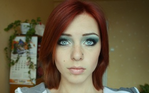 blue eyes, Lana Branishti, redhead, girl