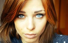 blue eyes, dyed hair, redhead, Lana Branishti, girl