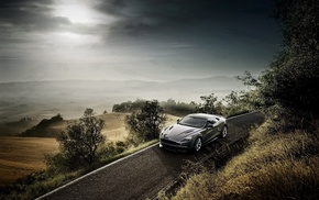 supercar, cloudy, road, Aston Martin, landscape