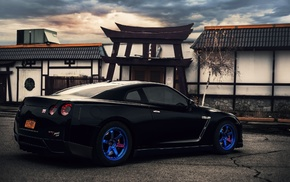 blue wheels, gt-r, nissan, зад, автомобили, r35
