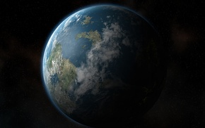 земля, планета, космос, день, ночь, звезды