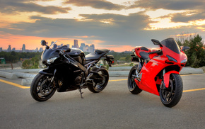 red, black, motorcycles, Honda