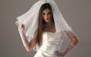 wedding dress, brunette