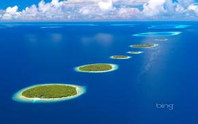 океан, острова, Мальдивы, красиво, небо, Maldives