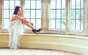 girl, white dress, high heels, brunette