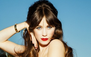 brunette, Zooey Deschanel, blue eyes, actress