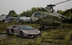 supercar, helicopter, cars, aventador