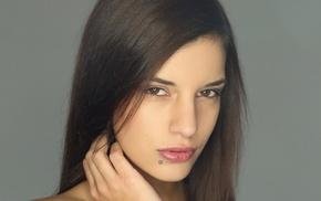 girl, face, brown eyes, brunette, piercing, long hair