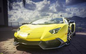 sky, wheels, cars, Lamborghini Aventador, yellow