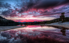 clouds, sunset, reflection, nature, trees