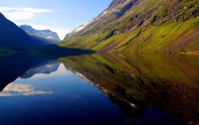 долина, природа, туман, горы, река