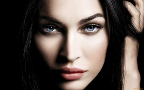 closeup, blue eyes, celebrity, Megan Fox, face, girl