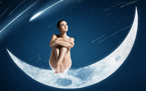girl, space, sit, moon, stars