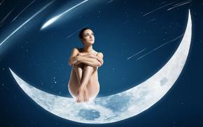взгляд, девушка, космос, сидит, луна, звезды
