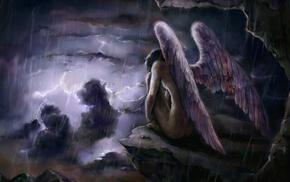 storm, wings, fantasy art