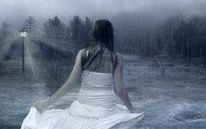 girls, rain, sky, forest, girl